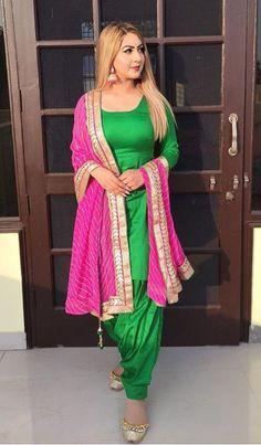 Items similar to Green Pink Suit Kameez Salwar Handmade dress Punjabi look Traditional Suit Ethnic Wear on Etsy Designer Salwar Kameez, Punjabi Dress, Punjabi Suits, Patiala Salwar Suits, Punjabi Fashion, Indian Fashion, Pakistani Outfits, Indian Outfits, Punjabi Suit Simple