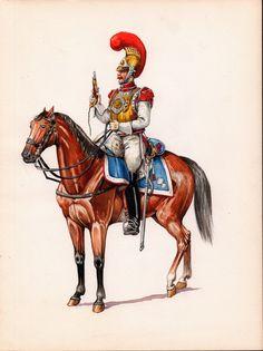 Moins connue que l'Empire auquel elle succède, la Restauration (1815-1830) est pourtant une période extrêmement riche d'un point de vue uniformologique. Carabinier de Monsieur, 1815.