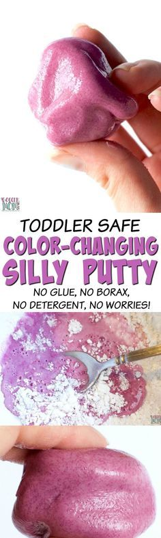 Safe & non-toxic for even the littlest hands! This edible silly putty slime recipe is EASY and fun to make (changes colors while you mix!) 3 Ingredients and NO glue, NO borax, NO liquid starch, NO detergent!