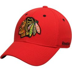 8e985f873a4 Men s Chicago Blackhawks Reebok Red Face-Off Team Structured Flex Hat