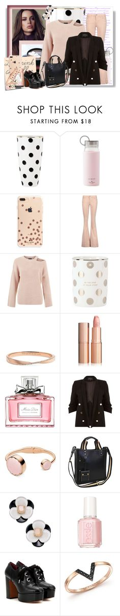 """""""Let's drink a coffee.. xoxo"""" by athenamtz ❤ liked on Polyvore featuring Kate Spade, Post-It, Alice + Olivia, Christian Dior, River Island, AmeriLeather, Essie, Marc Jacobs, ZoÃ« Chicco and plus size clothing"""