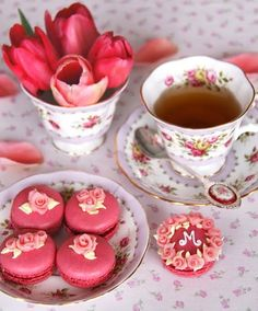 Tea, tulips, and pink macaroons. Pretty!
