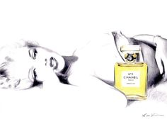 Marilyn Monroe in Chanel No 5 - Print of Original Illustration. $18.00, via Etsy.