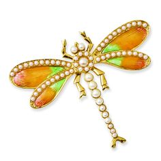 Gold-tone Simulated Pearls & Enamel Dragonfly Pin BF1731