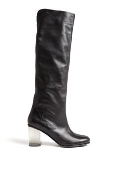 Black Vanessa Perspex Heel Knee High Boots by b Store