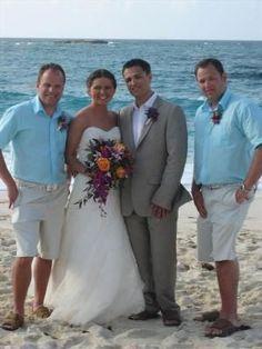 groomsmen aqua shirt + khakis