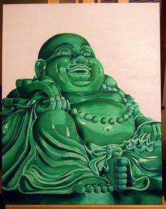 "Buddha I painted for a friend for his tattoo shop. Acrylics on 22x28"" canvas. Took a little over 20 hours to complete."