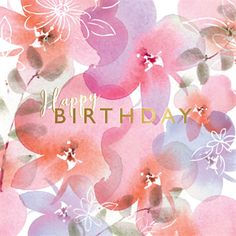 'Pink Posies' - Birthday card template you can print or send online as eCard for free. Personalize with your own message, photos and stickers. Birthday Card Messages, Unicorn Birthday Cards, Free Birthday Card, Happy Birthday Flower, Birthday Card Template, Happy Birthday Greetings, Diy Birthday, Happy Birthday Sweet Girl, Birthday Design