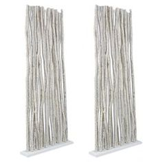 """Bamboo-style room divider with whitewashed wood rods.Product: Room divider    Construction Material: Solid wood    Color: White   Features:  Adds a splash of culture and craftsmanship to any room     Striking essential is perfect for sectioning off an area or adding design depth to an open room    Will enhance any decor  Dimensions: 81"""" H x 34"""" W x 8"""" D"""
