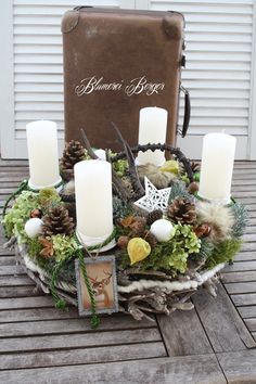 """Advent wreath - :::: Advent wreath """"Forest Christmas"""" :::: - a designer piece by . Christmas Advent Wreath, Christmas Candle Decorations, Christmas Crafts, All Things Christmas, Christmas Holidays, Vintage Sheet Music, Scandinavian Christmas, Hostess Gifts, Dried Flowers"""