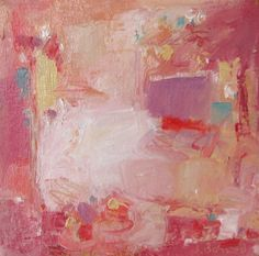 Jennifer Boswell Original Modern Art Pink Abstract Expressionist Pallette Knife Textured Oil Painting 6x6 Canvas