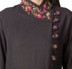 Khushal K Women Embroidered Flared Kurta Blouse Back Neck Designs, Neck Designs For Suits, Sleeves Designs For Dresses, Neckline Designs, Punjabi Suit Neck Designs, Salwar Neck Designs, Kurta Neck Design, Kurta Designs Women, Kurti Sleeves Design