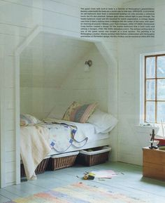 Bit too spartan but does have some minimal framing and a light. I'd put drawers underneath instead of baskets. Do like the wooden, white walls. His room should be very light color since it has a sloping ceiling and is not very big.