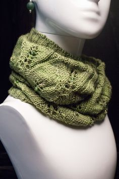 Hand Knit and Beaded Lace Infinity Scarf - Merino Wool, Cashmere and Silk -  Summer Greens (also known as a cowl) by VibrantFiberArt on Etsy