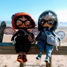 Niko and Milo, one of a kind little steampunk sand doodle dune bugs Dee Day, Pixie Ears, Leather Braces, Bug Art, Little Doodles, Jute Bags, Dune, Art Dolls, Steampunk