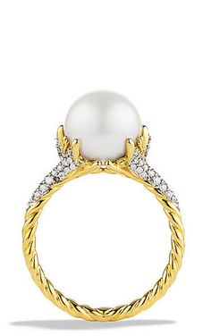 Starburst Pearl Ring with Diamonds in Gold  Absolutely gorgeous Yurman