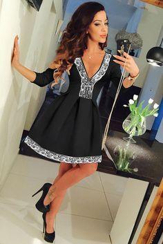 Modern Style Lace Trim V Neck Her Black Dressy Skater Dress