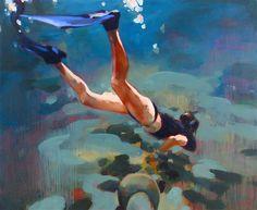 Saatchi Online Artist: Elizabeth Lennie; Oil, Painting Diving The Mayan Riviera