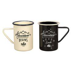 Gentlemen's Hardware Enamel Camping Coffee Mugs, Set of Cream Quote Adventure, Falcon Enamelware, Camping Coffee, And So The Adventure Begins, Mugs Set, Cool Kitchens, Gentleman, Traveling By Yourself, Coffee Mugs