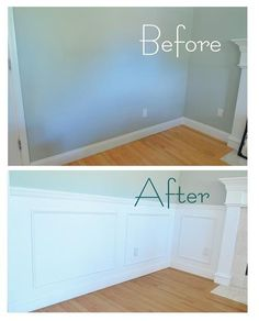 panel & picture frame wainscoting = nice improvement for a living room / dining area