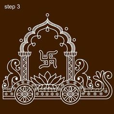 This page provides Bengali Alpana Designs with title Ratham Rangoli 16 for Hindu festivals. Rangoli Designs Images, Rangoli Designs Diwali, Beautiful Rangoli Designs, Indian Traditional Paintings, Indian Art Paintings, Traditional Art, Madhubani Art, Madhubani Painting, Alpona Design