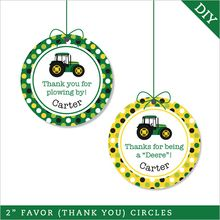 "Tractor Party 2"" Favor Circles (Digital File)"