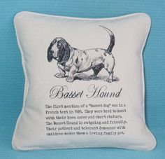 BASSET HOUND PILLOW  with Vintage Art and Description Shabby Chic Country Cabin Rustic - includes Pillow Insert Unique Gift by RosiesVintageArtShop on Etsy