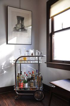 Keeping Liquor Out in the Open: 8 Home Bar Set-Ups. Home bar, bar cart. WANT.