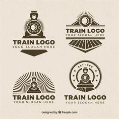 Selection of four train logos in retro style Free Vector Training Day Movie, Training Quotes, Cafe Logo, Estilo Retro, Locomotive, Train Tattoo, Train Wallpaper, Train Drawing, German Shepherd Training