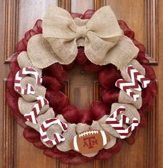 Mesh and Burlap Texas A&M Gig Em Football Wreath on Etsy, $65.00