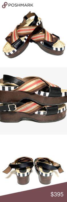 0be6f0b468e6 Marni Women s Multicolor Leather Raffia Sandals Marni Women s Multi-color  Leather Raffia Rubber Sole Sandals