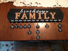 family birthdays board DIY - i got everything from michaels and made this all by myself