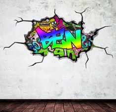 Items similar to Personalized / Customized Name Graffiti Wall Decals Stickers Brick Concrete Cracked Hole Printed Mural Colour Adhesive on Etsy Childrens Wall Decals, 3d Wall Decals, Removable Wall Stickers, Wall Murals, Personalized Wall Decals, Name Wall Art, Graffiti Designs, Graffiti Wall, Graffiti Drawing