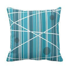 Aqua Abstract Stripes and circles Pillows
