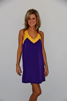 Glam Purple LSU Color Block Cross Back Dress