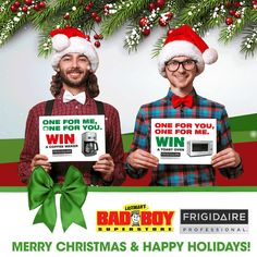 Bad Boy Holiday Contest - Win a Frigidaire gift for you, and a friend!