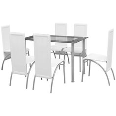 6 Person Dining Set Large White Table Chairs 7 Piece Kitchen Room Home Furniture for sale online Table And Chair Sets, Dining Table Chairs, Dining Set, Table Furniture, Home Furniture, Contemporary Dining Table, Design Moderne, Decoration Table, Home Kitchens