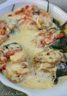 Shrimp and Cheese Stuffed Poblano Peppers (LouLou Sucre) Poblano Recipes, Fish Recipes, Seafood Recipes, Mexican Food Recipes, Cooking Recipes, Healthy Recipes, Pepper Recipes, Lunch Recipes, Recipies