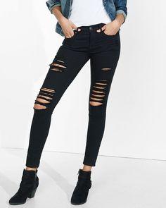 distressed black mid rise jean legging