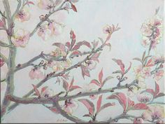 Prune Blossoms – oil on canvas – x The Quiet Miracle, Michael Krief Gallery, Solana Beach, California – 12 June to 3 July 2019 – Lizza Littlewort Solana Beach, Blossoms, Oil On Canvas, June, African, California, Gallery, Artist, Painting