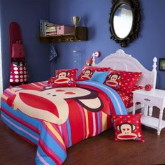 Blue And Red Stripe Paul Frank Bedding Sets