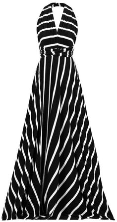 Black Stripe Halter Maxi Dress