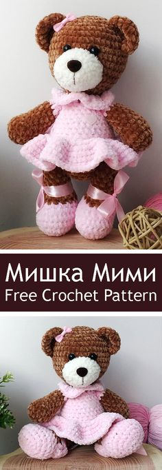 Mesmerizing Crochet an Amigurumi Rabbit Ideas. Lovely Crochet an Amigurumi Rabbit Ideas. Crochet Gratis, Crochet Amigurumi Free Patterns, Crochet Bear, Crochet Dolls, Free Crochet, Crochet Teddy Bear Pattern Free, Tiny Teddies, Stuffed Toys Patterns, Amigurumi Doll