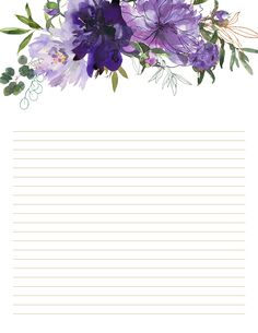 Relaxed DIY printables for Her Desk Purple floral stationery set, in 5 designs, both ruled and unruled printables are available. Shop on Etsy now! Herb Art, Floral Letters, Stationery Paper, Note Paper, Writing Paper, Printable Paper, Journal Cards, Scrapbook Paper, Beautiful Flowers