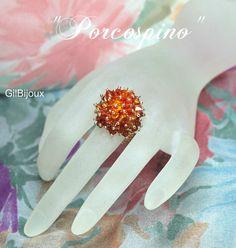 Anello Porcospino Con cristalli Swarovski e delica di GilBijoux