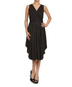 Look what I found on #zulily! Black Tie-Waist Surplice Dress #zulilyfinds