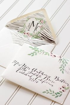 envelope calligraphy can do this on the blush flaps!!! green and gold?