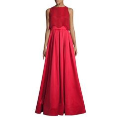 Badgley Mischka Wave Lace Popover Gown (2.560 BRL) ❤ liked on Polyvore featuring dresses, gowns, apparel & accessories, red ball gown, red lace gown, lace gown, red dress and lace evening gowns