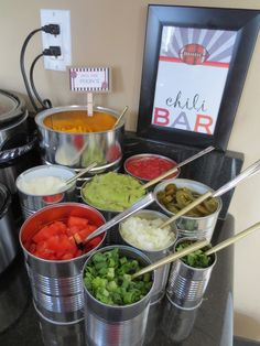 Chili Bar! Great idea for casual entertaining, family and friends get togethers, party, holidays, potlucks, buffets. Super Bowl football. Food station - Let them pick out their fix-ins!