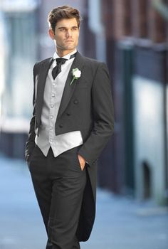 Groom In Tails With Vest Of Wedding Colors Grey Or Black Suit Hire